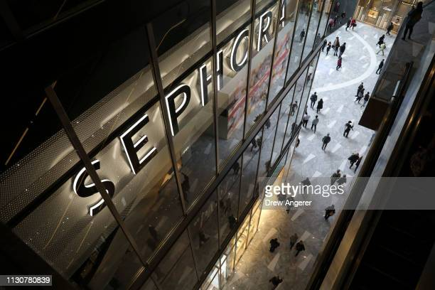 Sephora store stands as visitors walk through 'The Shops' during the grand opening of phase one of the Hudson Yards development on the West Side of...