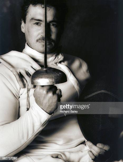 A sepia photograph of the wheelchair fencer Kevin Davies He won a gold medal at the 1984 Paralympics   Location Stoke Mandeville England UK