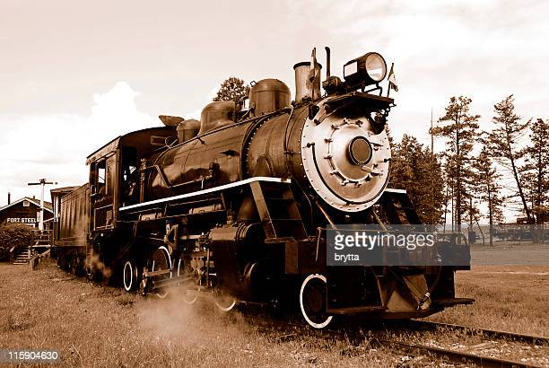 sepia  steam locomotive, fort steele heritage town,british columbia,canada. - social history stock pictures, royalty-free photos & images
