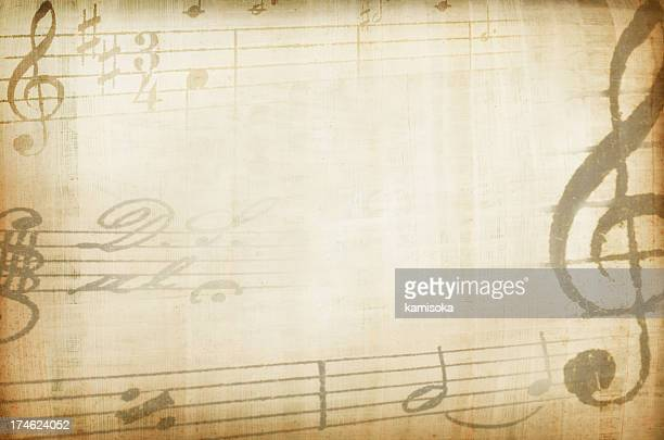 Sepia tones background with musical staves border