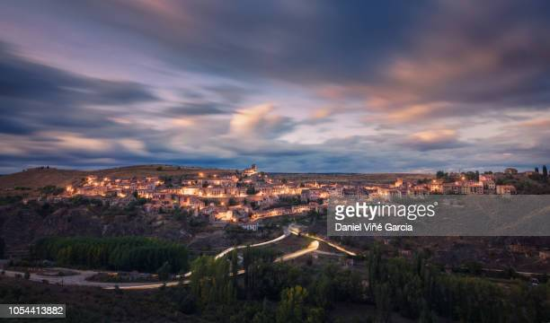sepúlveda at sunset, general view - segovia stock pictures, royalty-free photos & images