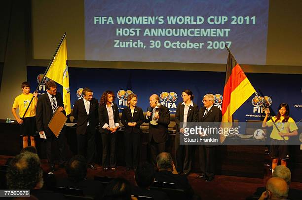 Sepp Blatter , President of FIFA with the German delegation after announcing Germany as the host venue of the FIFA Womens World Cup 2011, at the FIFA...