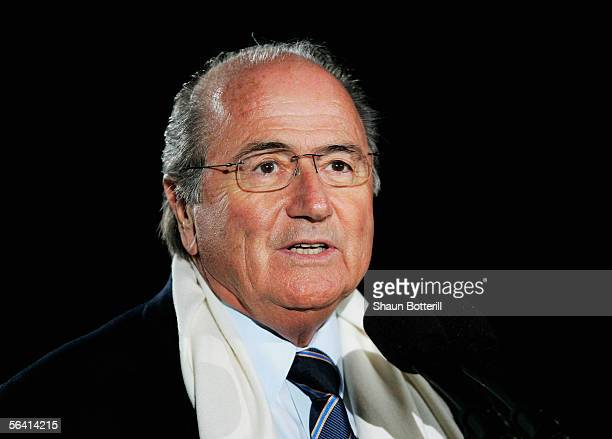 Sepp Blatter the FIFA President speaks before the FIFA Club World Championship Toyota Cup 2005 match between Al Ittihad and Al Ahly at The National...