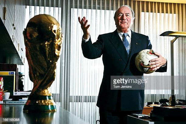 Sepp Blatter the President of FIFA the governing body of world football poses for a portrait in his office at FIFA House on December 9th 2004 in...