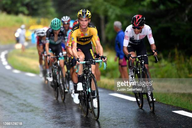 Sepp Kuss of The United States and Team Jumbo - Visma / Egan Arley Bernal Gomez of Colombia and Team Ineos White Best Young Jersey / during the 72nd...