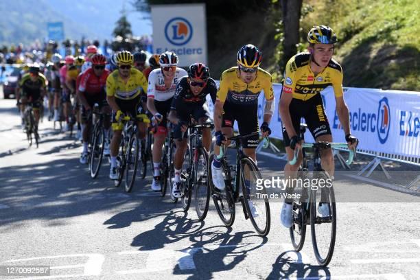 Sepp Kuss of The United States and Team Jumbo - Visma / Primoz Roglic of Slovenia and Team Jumbo - Visma / Egan Arley Bernal Gomez of Colombia and...