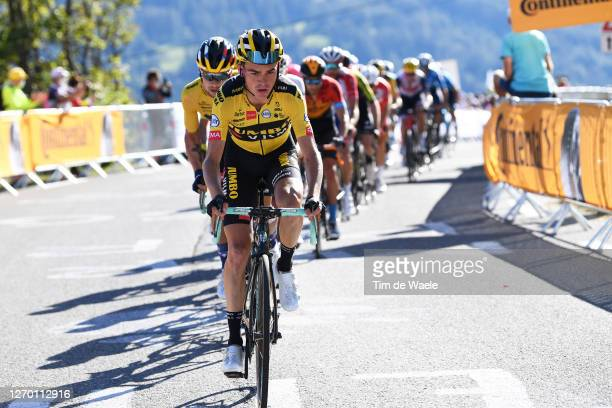 Sepp Kuss of The United States and Team Jumbo - Visma / Primoz Roglic of Slovenia and Team Jumbo - Visma / during the 107th Tour de France 2020,...