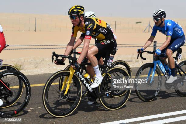 Sepp Kuss of The United States and Team Jumbo-Visma & Alejandro Valverde of Spain and Movistar Team during the 3rd UAE Tour 2021, Stage 1 a 176km...