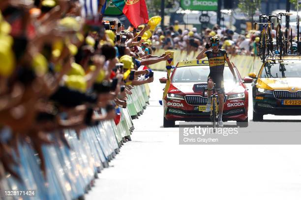 Sepp Kuss of The United States and Team Jumbo-Visma stage winner celebrates at arrival during the 108th Tour de France 2021, Stage 15 a 191,3km stage...