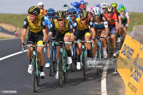 Sepp Kuss of The United States and Team LottoNL - Jumbo / Richard Carapaz of Ecuador and Movistar Team / Steven Kruijswijk of The Netherlands and...