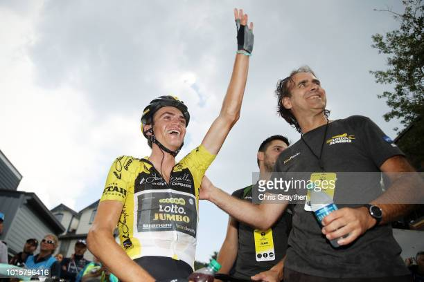 Sepp Kuss of The United States and Team LottoNL-Jumbo / Celebration / yellow leader jersey / during the 14th Larry H. Miller Tour of Utah, Stage 6 a...