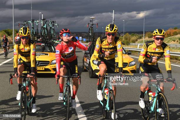 Sepp Kuss of The United States, Primoz Roglic of Slovenia Red Leader Jersey, Robert Gesink of The Netherlands and Jonas Vingegaard Rasmussen of...