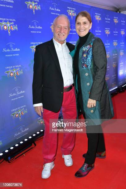 Sepp Schauer and his wife Corinna Binzer attend the premiere of Totem by Cirque du Soleil at Theresienwiese on February 13 2020 in Munich Germany