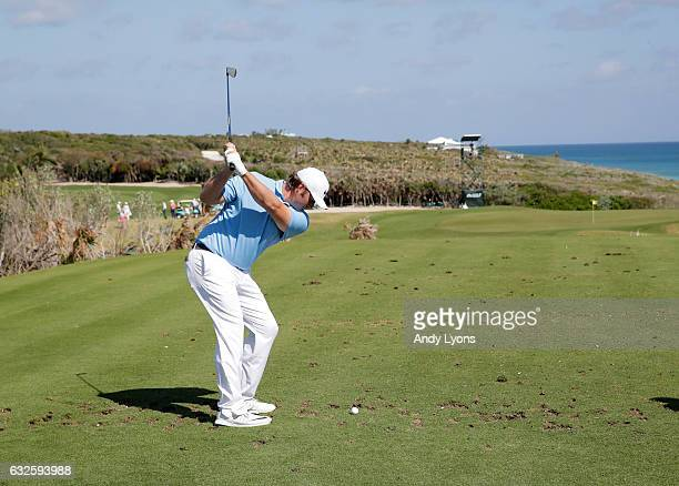 Sepp Straka hits his tee shot on the 17th hole during the second round of The Bahamas Great Abaco Classic at the Abaco Club on January 24 2017 in...