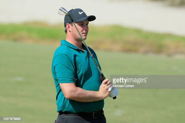 Sepp Straka of Austria reacts to his second shot on the 17th hole during the third round of the Webcom Tour Championship held at Atlantic Beach...