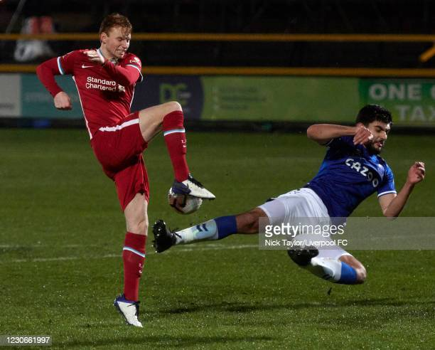Sepp van den Berg of Liverpool and Con Ouzounidis of Everton in action during the PL2 game at Pure Stadium on January 18, 2021 in Southport, England.