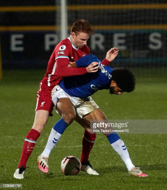 Sepp van den Berg of Liverpool and Ellis Simms of Everton in action during the PL2 game at Pure Stadium on January 18, 2021 in Southport, England.