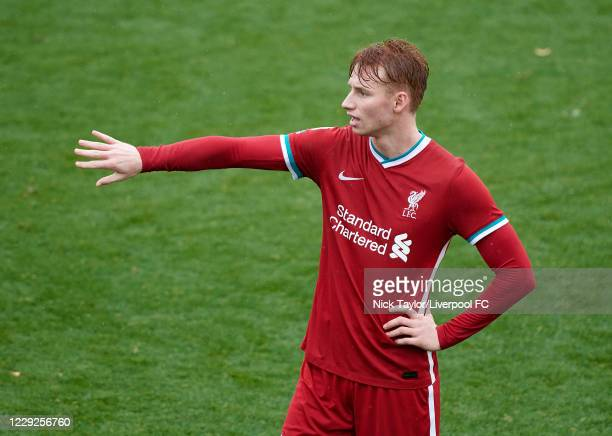 Sepp van den Berg of Liverpool during the PL2 game at The Kirkby Academy on October 24, 2020 in Kirkby, England.