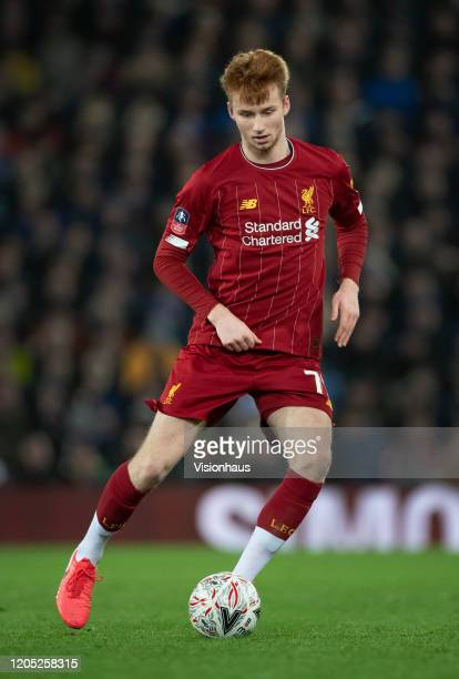 Sepp van den Berg of Liverpool in action during the FA Cup Fourth Round Replay match between Liverpool and Shrewsbury Town at Anfield on February 4...