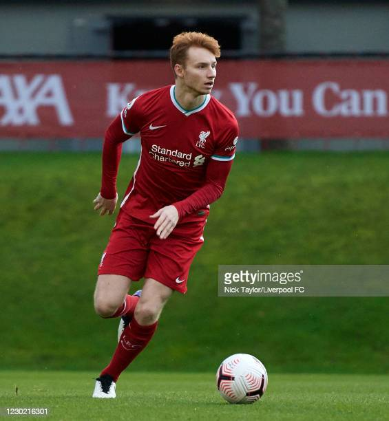 Sepp van den Berg of Liverpool in action during the PL2 match at AXA Training Centre on December 19, 2020 in Kirkby, England.