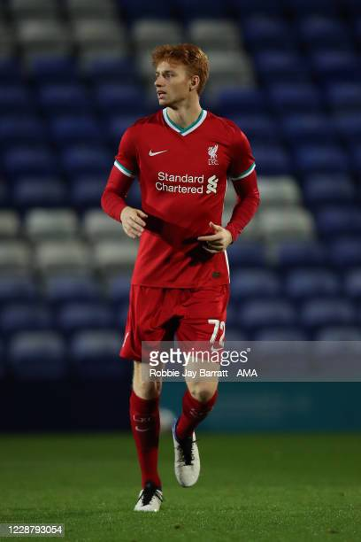 Sepp Van Den Berg of Liverpool U21 during the EFL Trophy Northern Group D fixture between Tranmere Rovers and Liverpool U21 at Prenton Park on...