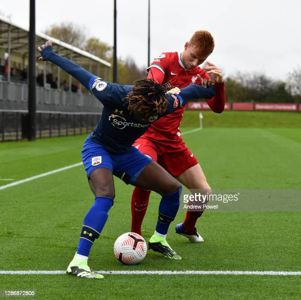 Sepp Van Den Berg of Liverpool U23 competing Southampton's Alex Jankewitz during the Premier League 2 match between Liverpool U23 and Southampton U23...