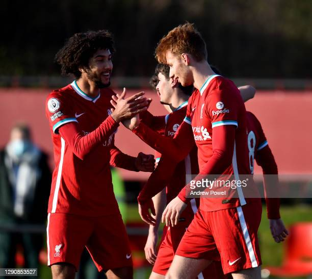 Sepp Van Den Berg of Liverpool U23's celebrates after scoring the opening goal during the Premier League 2 match between Liverpool U23 and Blackburn...