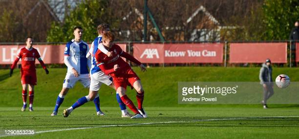 Sepp Van Den Berg of Liverpool U23's scores the opening goal during the Premier League 2 match between Liverpool U23 and Blackburn Rovers U23 at AXA...