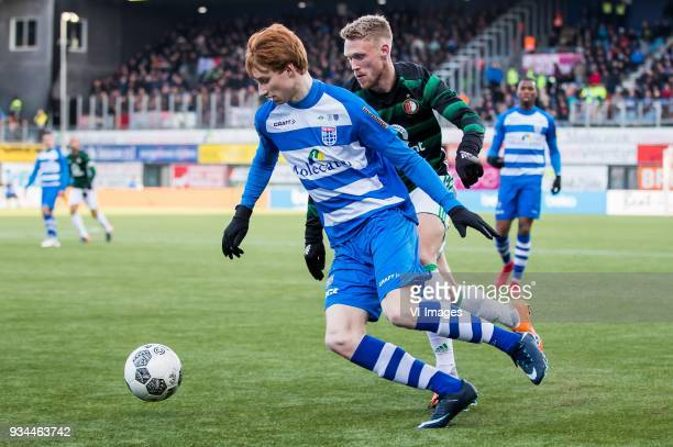 Sepp van den Berg of PEC Zwolle Nicolai Jorgensen of Feyenoord during the Dutch Eredivisie match between PEC Zwolle and Feyenoord Rotterdam at the...
