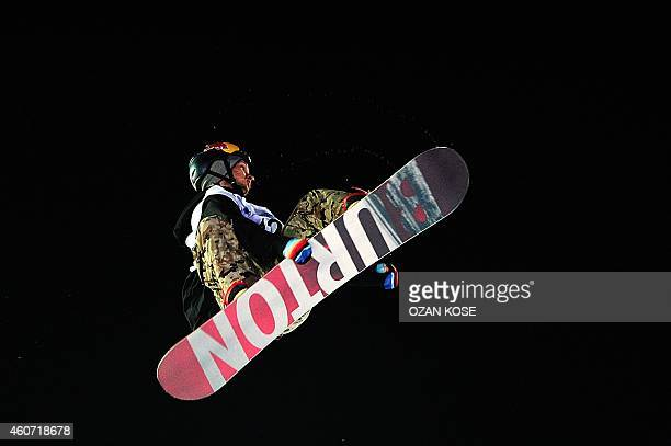 Seppe Smits of Belgium competes in the final round of the FIS Freestyle Snowboard Men's World Cup in Istanbul on December 20 2014 AFP PHOTO / OZAN...
