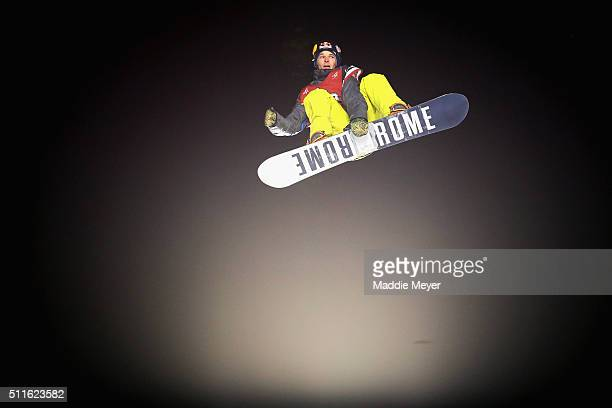 Seppe Smits of Belgium competes in the Men's Snowboarding finals during Polartec Big Air Day 1 at Fenway Park on February 11 2016 in Boston...