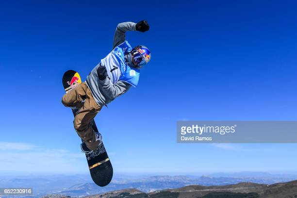 Seppe Smits of Belgium in action during a training session ahead of Men's Slopestyle Final on day four of the FIS Freestyle Ski and Snowboard World...