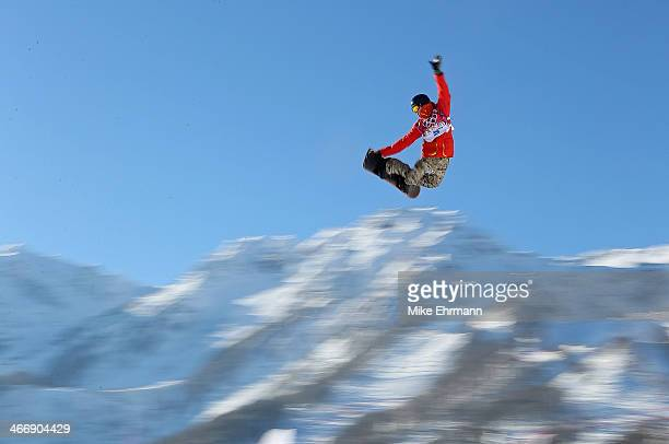 Seppe Smits of Belgium practices during training for Snowboard Slopestyle at the Extreme Park at Rosa Khutor Mountain on February 5 2014 in Sochi...
