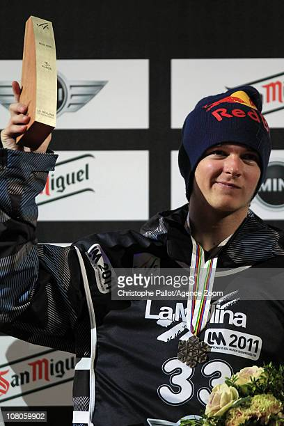 Seppe Smits of Belgium takes 3rd place during the FIS Snowboard World Championships MenÕs Big Air on January 15 2011 in Barcelona Spain