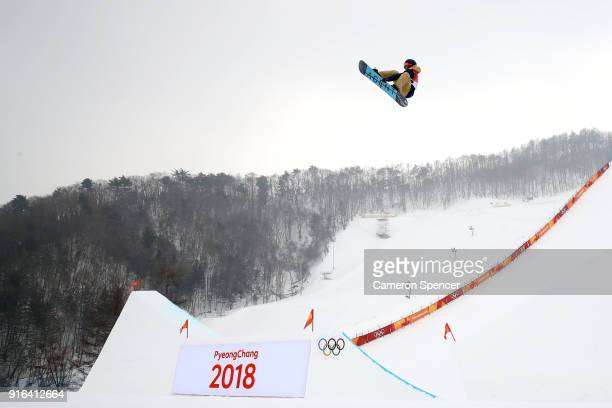 Seppe Smits of Belgium trains ahead of the Men's Slopestyle qualification on day one of the PyeongChang 2018 Winter Olympic Games at Phoenix Snow...