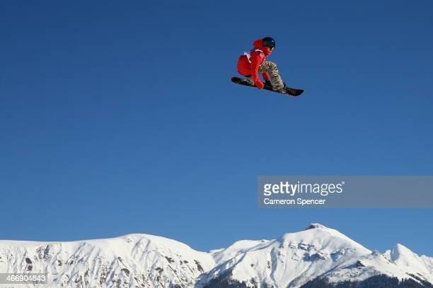Seppe Smits of Belgium trains during Snowboard Slopestyle practice at the Extreme Park at Rosa Khutor Mountain ahead of the Sochi 2014 Winter...
