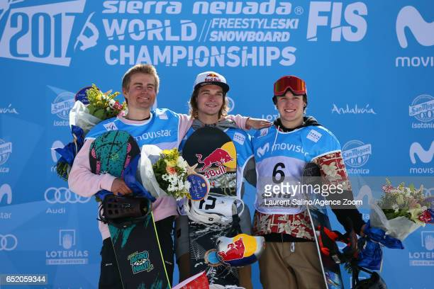 Seppe Smits of Belgium wins the gold medal Nicolas Huber of Switzerland wins silver medal Chris Corning of USA wins the bronze medal during the FIS...
