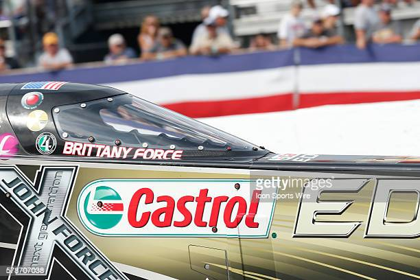 Top Fuel driver Brittany Force in action at the finals of the 60th Annual Chevrolet Performance U.S. Nationals at Lucas Oil Raceway in Indianapolis,...
