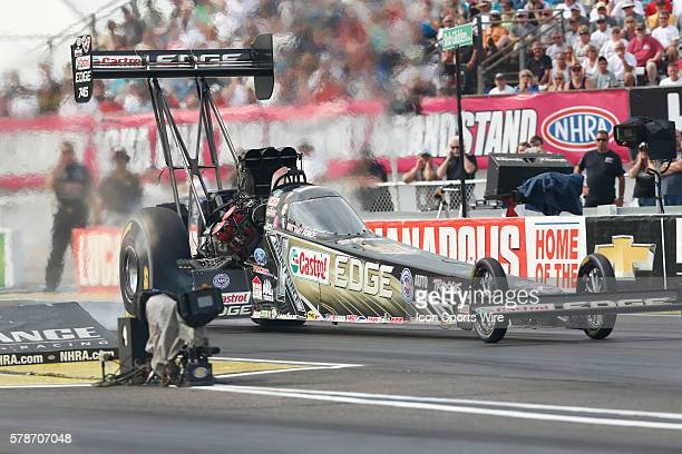Top Fuel driver Brittany Force in action at the finals of the 60th Annual Chevrolet Performance US Nationals at Lucas Oil Raceway in Indianapolis IN