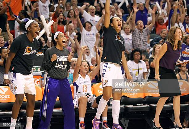 Mercury bench cheers on their teammates The Phoenix Mercury host the Minnesota Lynx in the 3rd game of the Western Conference Finals played at US...