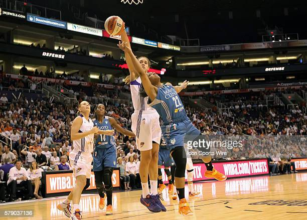 Mercury Center Brittney Griner blocks a shot by Lynx Guard Monica Wright The Phoenix Mercury host the Minnesota Lynx in the 3rd game of the Western...
