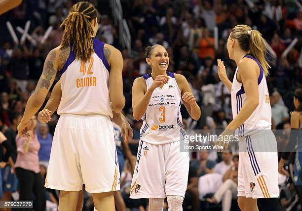 Mercury Guard Diana Taurasi celebrates with teammate Penny Taylor The Phoenix Mercury host the Minnesota Lynx in the 3rd game of the Western...