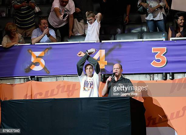 Mercury Guard Diana Taurasi gives the Xfactor sign to the fans after the game Taurasi spray paints out Game 4 as the Mercury have 3 more games to win...