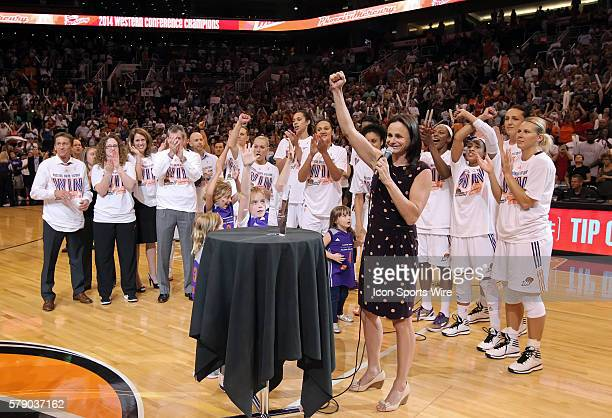 Mercury Head Coach Sandy Brondello addresses the fans after the game The Phoenix Mercury host the Minnesota Lynx in the 3rd game of the Western...