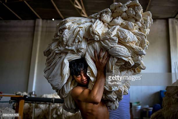 Sept 08 2015 Dhaka Bangladesh Workers are working in a local dyeing factory in Narayangonj Dhaka Bangladesh