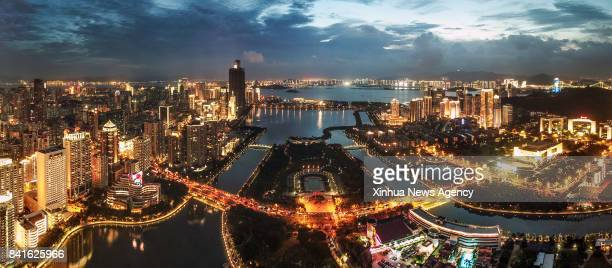XIAMEN Sept 1 2017 Aerial panoramic photo combined on Aug 24 2017 shows a part of Xiamen a coastal city in southeast China's Fujian Province The...