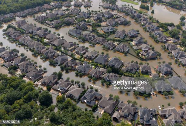 HOUSTON Sept 1 2017 Aerial photo taken on Sept 1 2017 shows flooded houses after Hurricane Harvey attacked Houston Texas the United States