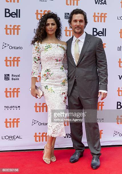TORONTO Sept 11 2016 Actor Matthew McConaughey and his wife Camila Alves attend the world premiere of the film Sing at Princess of Wales Theatre...