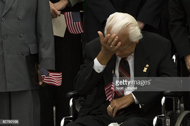 Sen Robert C Byrd DWVa wipes away a tear during a prayer at ceremony at the US Capitol in memory of victims of the terrorist attacks on Sept 11 2001