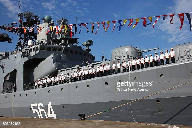 ZHANJIANG Sept 12 2016 A Russian navy ship arrives at a port in Zhanjiang south China's Guangdong Province Sept 12 2016 A Russian fleet arrived in...
